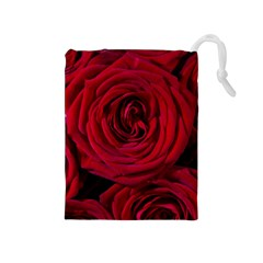 Roses Flowers Red Forest Bloom Drawstring Pouches (Medium)