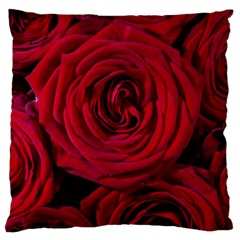 Roses Flowers Red Forest Bloom Large Flano Cushion Case (One Side)
