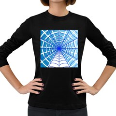 Cobweb Network Points Lines Women s Long Sleeve Dark T-shirts by Amaryn4rt