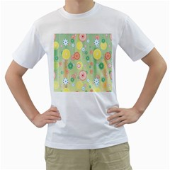 Flower Arrangements Season Pink Yellow Red Rose Sunflower Men s T Shirt (white) (two Sided)