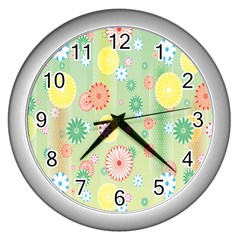 Flower Arrangements Season Pink Yellow Red Rose Sunflower Wall Clocks (silver)  by Alisyart