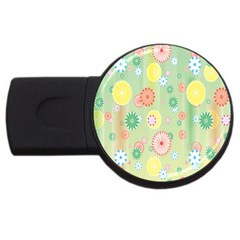 Flower Arrangements Season Pink Yellow Red Rose Sunflower Usb Flash Drive Round (2 Gb) by Alisyart