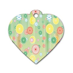 Flower Arrangements Season Pink Yellow Red Rose Sunflower Dog Tag Heart (two Sides) by Alisyart