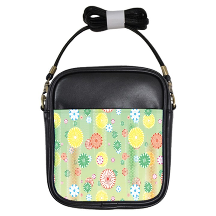 Flower Arrangements Season Pink Yellow Red Rose Sunflower Girls Sling Bags