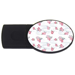 Flower Arrangements Season Sunflower Pink Red Waves Grey Usb Flash Drive Oval (4 Gb) by Alisyart