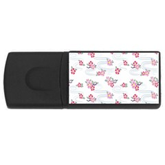 Flower Arrangements Season Sunflower Pink Red Waves Grey Usb Flash Drive Rectangular (4 Gb)