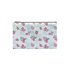 Flower Arrangements Season Sunflower Pink Red Waves Grey Cosmetic Bag (small)