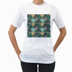 Flower Sunflower Floral Circle Star Color Purple Blue Women s T Shirt (white) (two Sided)