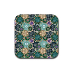 Flower Sunflower Floral Circle Star Color Purple Blue Rubber Square Coaster (4 Pack)