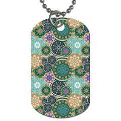 Flower Sunflower Floral Circle Star Color Purple Blue Dog Tag (one Side)