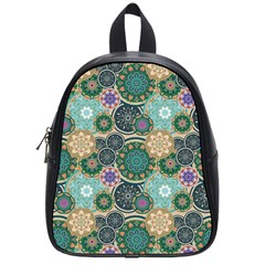 Flower Sunflower Floral Circle Star Color Purple Blue School Bags (small)