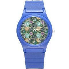 Flower Sunflower Floral Circle Star Color Purple Blue Round Plastic Sport Watch (s) by Alisyart
