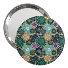 Flower Sunflower Floral Circle Star Color Purple Blue 3  Handbag Mirrors