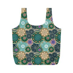 Flower Sunflower Floral Circle Star Color Purple Blue Full Print Recycle Bags (m)