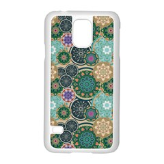 Flower Sunflower Floral Circle Star Color Purple Blue Samsung Galaxy S5 Case (white)