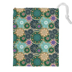 Flower Sunflower Floral Circle Star Color Purple Blue Drawstring Pouches (xxl) by Alisyart
