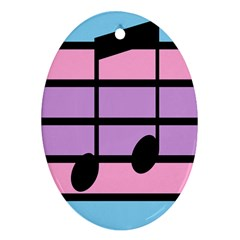 Music Gender Pride Note Flag Blue Pink Purple Ornament (oval)