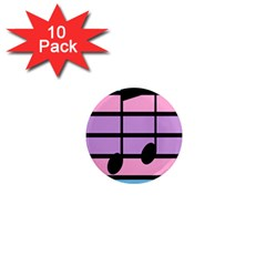Music Gender Pride Note Flag Blue Pink Purple 1  Mini Magnet (10 Pack)  by Alisyart