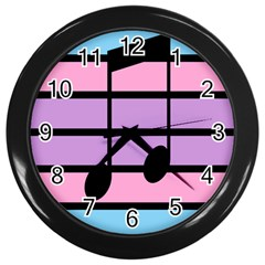Music Gender Pride Note Flag Blue Pink Purple Wall Clocks (black) by Alisyart