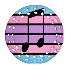 Music Gender Pride Note Flag Blue Pink Purple Round Filigree Ornament (two Sides)