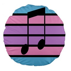 Music Gender Pride Note Flag Blue Pink Purple Large 18  Premium Flano Round Cushions