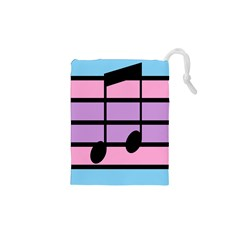 Music Gender Pride Note Flag Blue Pink Purple Drawstring Pouches (xs)