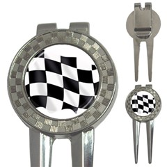Flag Chess Corse Race Auto Road 3 In 1 Golf Divots by Amaryn4rt