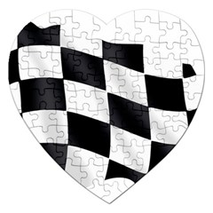 Flag Chess Corse Race Auto Road Jigsaw Puzzle (heart) by Amaryn4rt