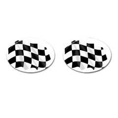 Flag Chess Corse Race Auto Road Cufflinks (oval) by Amaryn4rt