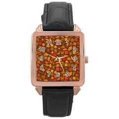 Pattern Background Ethnic Tribal Rose Gold Leather Watch