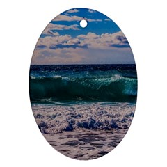 Wave Foam Spray Sea Water Nature Ornament (oval) by Amaryn4rt