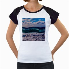 Wave Foam Spray Sea Water Nature Women s Cap Sleeve T