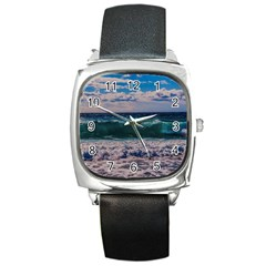 Wave Foam Spray Sea Water Nature Square Metal Watch by Amaryn4rt