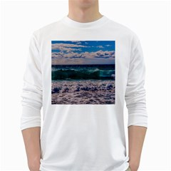 Wave Foam Spray Sea Water Nature White Long Sleeve T Shirts by Amaryn4rt