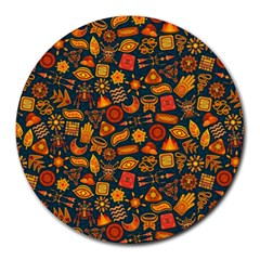 Pattern Background Ethnic Tribal Round Mousepads by Amaryn4rt