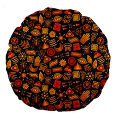 Pattern Background Ethnic Tribal Large 18  Premium Round Cushions by Amaryn4rt