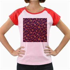 Abstract Background Floral Pattern Women s Cap Sleeve T Shirt
