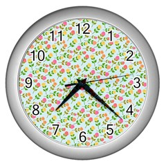 Flowers Roses Floral Flowery Wall Clocks (silver)  by Amaryn4rt