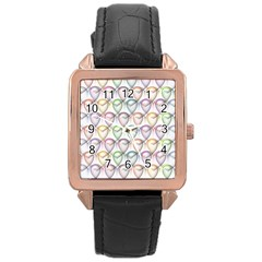 Valentine Hearts 3d Valentine S Day Rose Gold Leather Watch  by Amaryn4rt