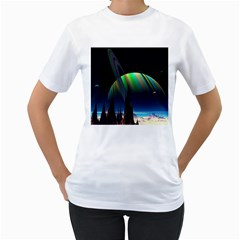 Planets In Space Stars Women s T-shirt (white) (two Sided)