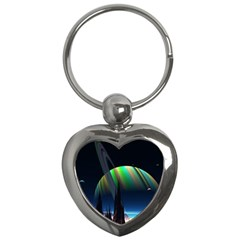 Planets In Space Stars Key Chains (heart)  by Amaryn4rt