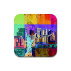 New York City The Statue Of Liberty Rubber Square Coaster (4 Pack)