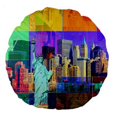 New York City The Statue Of Liberty Large 18  Premium Round Cushions by Amaryn4rt