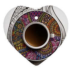 Ethnic Pattern Ornaments And Coffee Cups Vector Ornament (heart) by Amaryn4rt