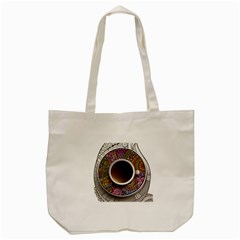 Ethnic Pattern Ornaments And Coffee Cups Vector Tote Bag (cream)
