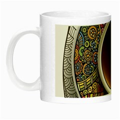 Ethnic Pattern Ornaments And Coffee Cups Vector Night Luminous Mugs by Amaryn4rt