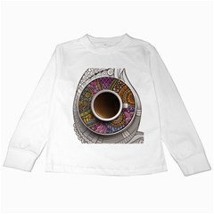 Ethnic Pattern Ornaments And Coffee Cups Vector Kids Long Sleeve T Shirts by Amaryn4rt