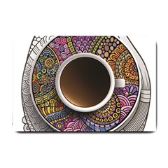 Ethnic Pattern Ornaments And Coffee Cups Vector Small Doormat  by Amaryn4rt