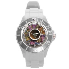 Ethnic Pattern Ornaments And Coffee Cups Vector Round Plastic Sport Watch (l) by Amaryn4rt