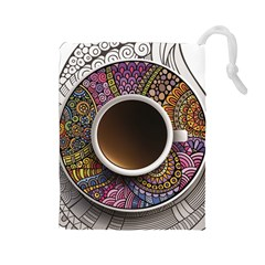 Ethnic Pattern Ornaments And Coffee Cups Vector Drawstring Pouches (large)  by Amaryn4rt